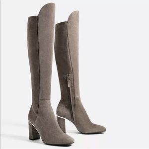 Zara Basic Suede Leather Knee High Tall Gray Boots